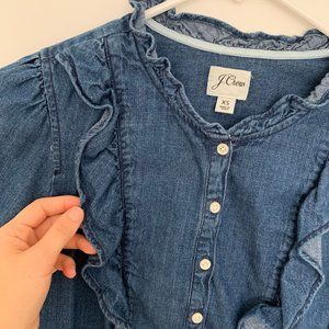 J. Crew Tops - J.Crew Denim Ruffle Shirt